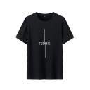 Chic Mens Letter Teshsll Printed Short Sleeve Round Neck Loose Fit T-shirt