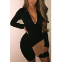 Sexy Ladies Solid Color Long Sleeve Zipper Front Slim Fit Stretchy Rompers