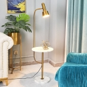 Torchlight Adjustable Bedside Floor Lamp Metallic 1 Head Mid Century Standing Light in Gold with Marble Table