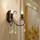 Black Swirled Arm Candle Wall Light Retro Iron 2 Bulbs Living Room Sconce with Crystal Strands
