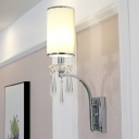 1-Bulb Cylinder Wall Mounted Light Simple Chrome Finish Pleated Fabric Candle Wall Lamp