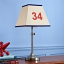 Beige Trapezoid Nightstand Light Minimalist 1 Bulb Number-Print Fabric Table Lamp