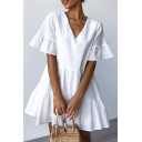 Casual Womens Solid Color Bell Sleeves V-neck Ruffled Trim Short Swing Dress