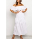 Popular Womens Off the Shoulder Ruffled Metal Decoration Ruffled Maxi Pleated A-line Dress in White