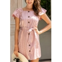 Fashion Girls Stripe Printed Ruffled Short Sleeve Square Neck Button down Bow Tie Waist Short A-line Dress in Pink