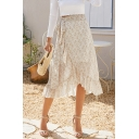 Amazing Ditsy Floral Pattern High Waist Bow Tie Ruffled Trim Mid Wrap Skirt for Women