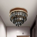 K9 Crystal Smoke Grey Flush Mount Light 3 Layers 6-Bulb Postmodern Style Close to Ceiling Lamp