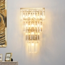 Tapered Tiers Crystal Prism Flush Mount Contemporary 7 Lights Sitting Room Wall Mount Lighting in Gold