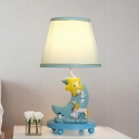 Fabric Cone Nightstand Light Countryside 1 Head Bedroom Table Lighting with Moon Pedestal in Blue