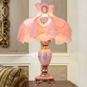 1-Light Fabric Table Lamp Korean Garden Pink Princess Costume Living Room Nightstand Light