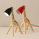 Kids Giraffe Table Lighting Wood 1-Light Child Bedroom Night Lamp with Bell Lampshade in Black/Red/Yellow