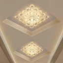 Minimalist Square Flush Mount Light Clear Crystal LED Ceiling Mounted Fixture in Warm/White/Multi Color Light
