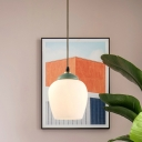 Brass 1 Light Hanging Pendant Traditional White Glass Elongated Dome/Flared Suspension Lighting