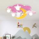 Pink/Blue Starry Sky Semi Flush Mount Cartoon 5 Bulbs Wood Close to Ceiling Lighting with Rabbit Deco