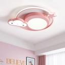 Nebula Shape Flush Ceiling Lighting Cartoon Acrylic LED Pink Flush Mount Fixture in White/Warm Light