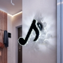 Musical Note Crystal Wall Lighting Contemporary LED Foyer Sconce Light Fixture in Black