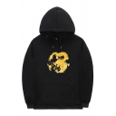 Street Guys Dragon Printed Long Sleeve Drawstring Loose Fitted Hoodie with Pocket