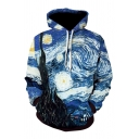 Boys Chic Oil Painting Tree 3D Print Long Sleeve Drawstring Pouch Pocket Loose Cool Hoodie in Blue