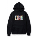 Cool Letter Fine Line Pattern Long Sleeve Kangaroo Pocket Loose Fitted Hoodie for Boys