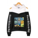 Letter Sudoku Oil Painting Graphic Long Sleeve Cold Shoulder Patched Relaxed Trendy Hoodie for Girls