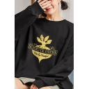 Womens Sherpa Liner Letter Schrute Farms Cartoon Radish Graphic Long Sleeve Crew Neck Cool Loose Pullover Sweatshirt in Black