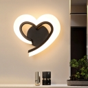 Loving Heart Bedroom Wall Light Acrylic LED Modern Wall Sconce Lighting Fixture in Black/White/Blue