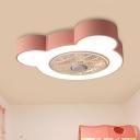 Penguin/Bear/Rabbit Shape Semi Flush Mount Light Macaron Metallic Grey/Pink Finish LED Fan Lamp, 23