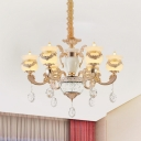 6-Bulb Opal Frosted Glass Chandelier Vintage Gold Urn Dining Room Pendant Light Fixture with Carved Ornament