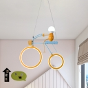 Cool Bot Riding Bicycle Pendant Light Kids Acrylic Bedroom LED Hanging Chandelier in Yellow