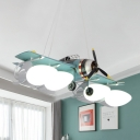 Green Fighter Plane Suspension Lamp Kid 4 Heads Metallic Pendant Chandelier with Opal Glass Shade