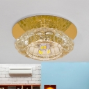 Modern Bloom Flush Mount Lighting Beveled Crystal LED Ceiling Light Fixture in White