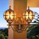 Globe Amber Glass Wall Lamp Retro 2-Light Outdoor Wall Lighting Fixture with Frame in Bronze/Black