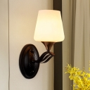 Black Tulip Wall Mounted Lighting Traditional White Glass 1 Light Bedroom Wall Sconce Light