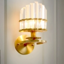 Gold Finish 1 Bulb Wall Lamp Mid Century Crystal Prism Curved Sconce Lighting Fixture