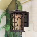 Iron Dark Coffee Wall Mounted Lighting Lantern 1 Light Farmhouse Wall Hanging Light with Inner Tan Glass Shade