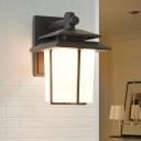 Black/Bronze Lantern Shaped Wall Lamp Retro Style Opal Glass 1 Head Outdoor Wall Mount Light