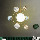Gold Finish Star Pendant Chandelier Contemporary 7-Head Globe Glass LED Suspension Light