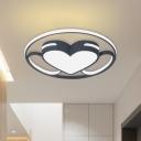LED Bedroom Flushmount Lighting Nordic White Ceiling Flush with Heart Acrylic Shade in Warm/White Light