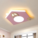 Acrylic House Flush Mount Spotlight Cartoon LED Ceiling Light Fixture in Pink/Blue for Nursery