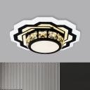 Gear/Flower Foyer Ceiling Fixture Modern Beveled Crystal Prism LED Black Flush Mount Lighting