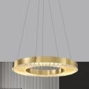 LED Circular Hanging Chandelier Modern Gold Clear K9 Crystal Suspension Pendant Light