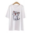 Cute Cat Embroidered Short Sleeve Crew Neck Relaxed Fitted T Shirt in White