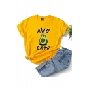 Fashion Girls Letter Avo Cato Cartoon Graphic Rolled Short Sleeve Crew Neck Slim Fit T Shirt