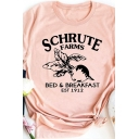 Simple Girls Letter Schrute Farms Radish Graphic Rolled Short Sleeve Crew Neck Slim Fit T Shirt