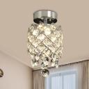 Minimalist Rhombus Semi Flush Light 1 Bulb Faceted Crystal Flush Mount Lamp in Chrome