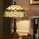 Bronze 1 Light Night Table Light Tiffany Stained Glass Dome Rose Patterned Desk Lamp