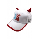 Cross Embroidered Horn Patched Popular Baseball Cap in White