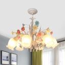 Romantic Pastoral Bloom Pendant 3/6 Heads White Glass Chandelier Light Fixture for Living Room