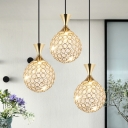 Crystal Ball Fish Cluster Pendant Modern 3/5 Heads Dining Table Suspension Light in Gold