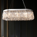 10-Bulb Hanging Island Light Modern Dining Room Pendant with Oval Crystal Shade in Chrome